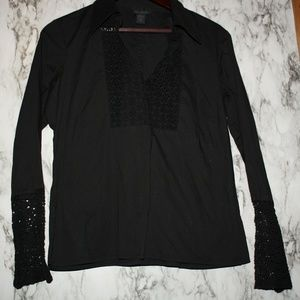 The Limited Stretch Black Top w/ Crochete Lace